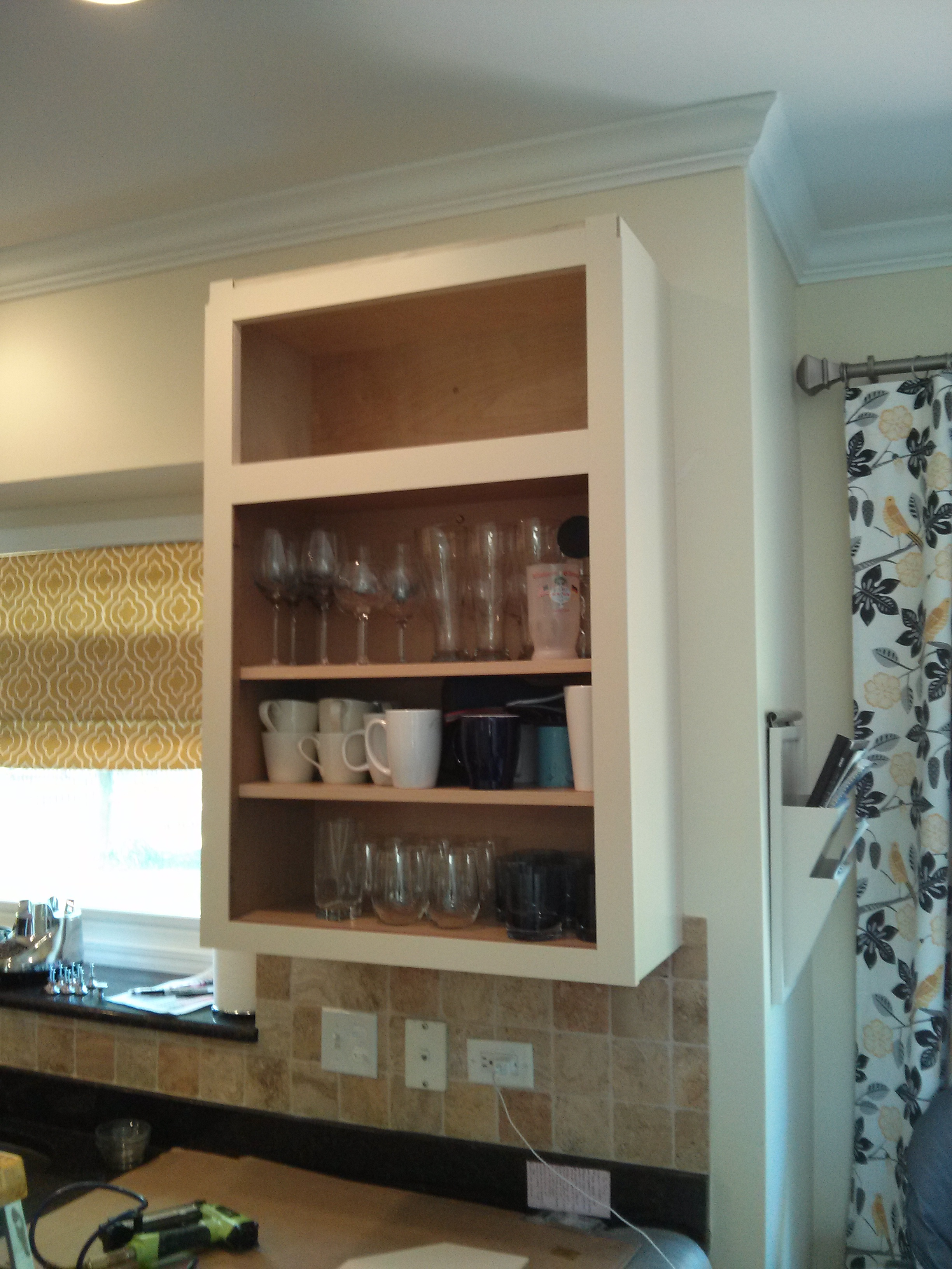Kitchen Without Wall Cabinets : Step 3: The cabinet is now faced with solid 1/4″ maple to cover and ...